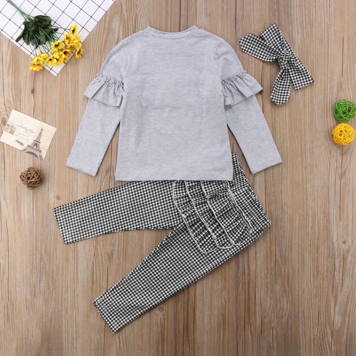 fab5491f95453 ... Toddler Kids Baby Girl Outfits 3PCS Ruffle Long Sleeve Tops+Plaid Pants  Leggings+Headband