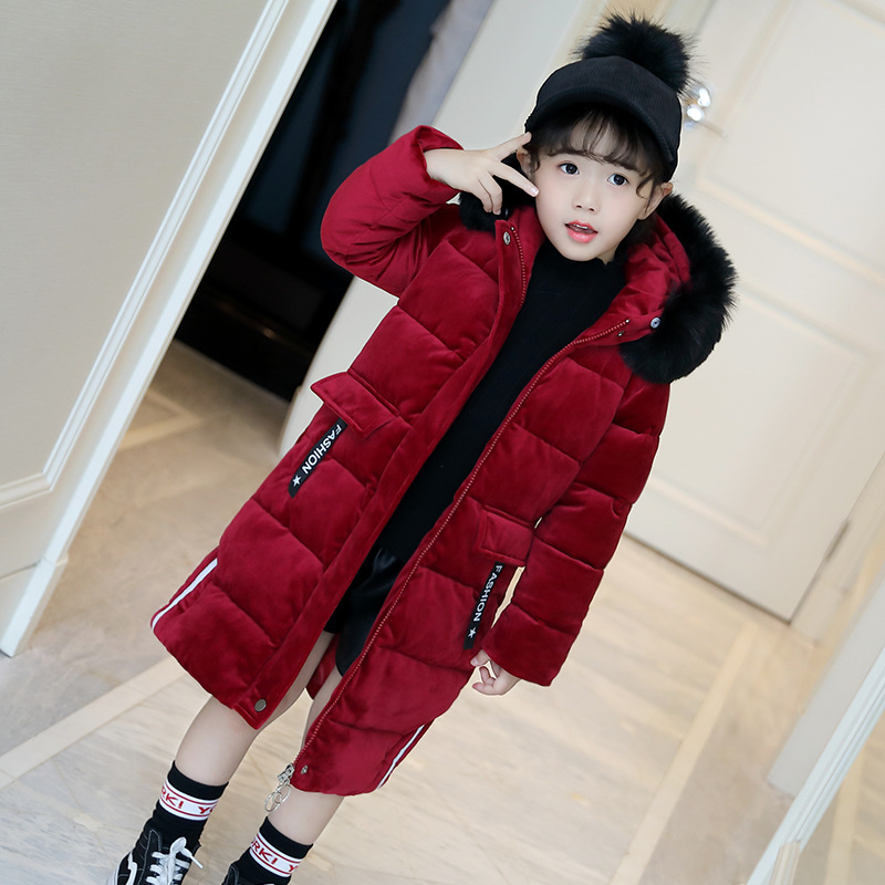 3-13 Years Children Girl Winter Parka Coat Jacket Fashion High Fur Collar Solid Thick Cotton Wadded Outerwear Color Red / Black autumn winter women national trend wool collar wadded jacket