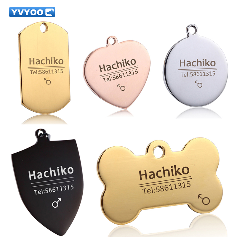 YVYOO Dog cat tag Anjing kerah Stainless steel ukiran Gratis Pet Dog Cat kerah aksesoris ID tag nama telepon BB
