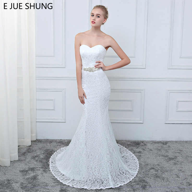 a737a03e04 E JUE SHUNG White Vintage Lace Mermaid Wedding Dresses Crystal Belt 2018 Sweetheart  Wedding Bridal Gowns