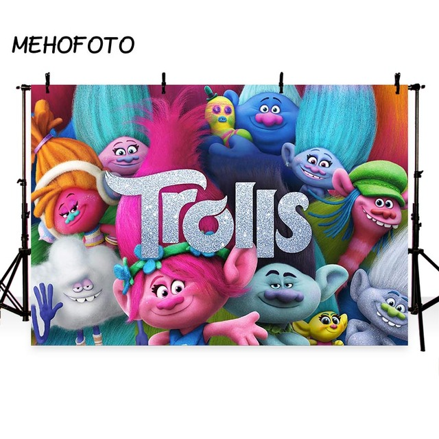 Trolls Party Photo Backdrops Birthday Cartoon Pink Cupcake Rainbows Photography Backdrops for Photo Booth Decoration Background