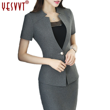 YESVVT Female office uniform Women suit  ladies coat with skirt plus-size  gray& black 2017 New fashion half sleeve