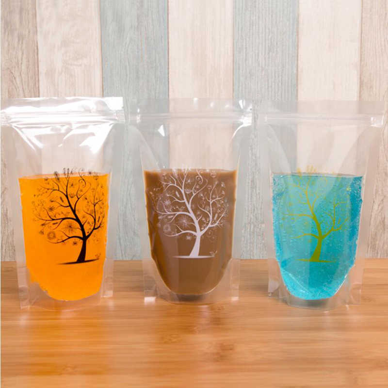 100 Pack, 450ml Fashion Tree Printed Design Self- supporting Plastic Drink Packaging Bag Pouch for Beverage Water Juice Coffee