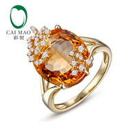 Free shipping 18KT/750 Yellow Gold 8.89 ct Natural Citrine 0.15 ct Round Cut Diamond Engagement Gemstone Ring Jewelry