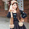 Fashion All-match Winter Women Hat Scarf Gloves Three Piece Set Mixed Color Handmade Beautiful Warm Thick Girl Scarf