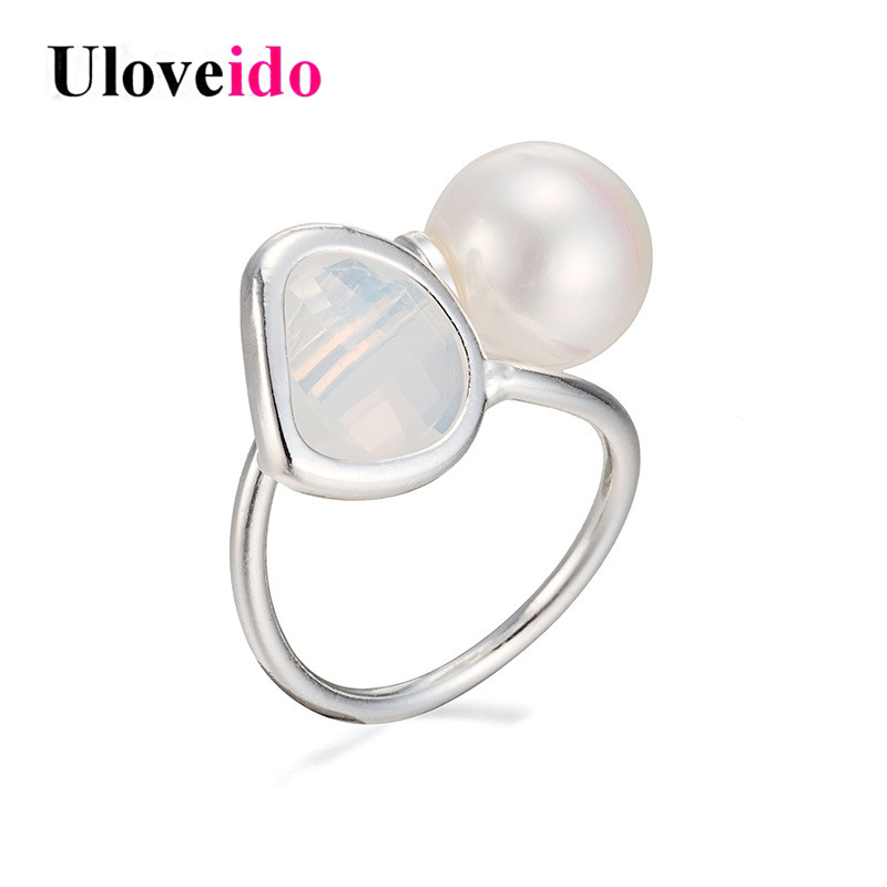 Uloveido Wedding Opening Rings for Women Adjustable Engagement Ring with Simulated Pearl Silver Color Decorating Jewelry MCR001
