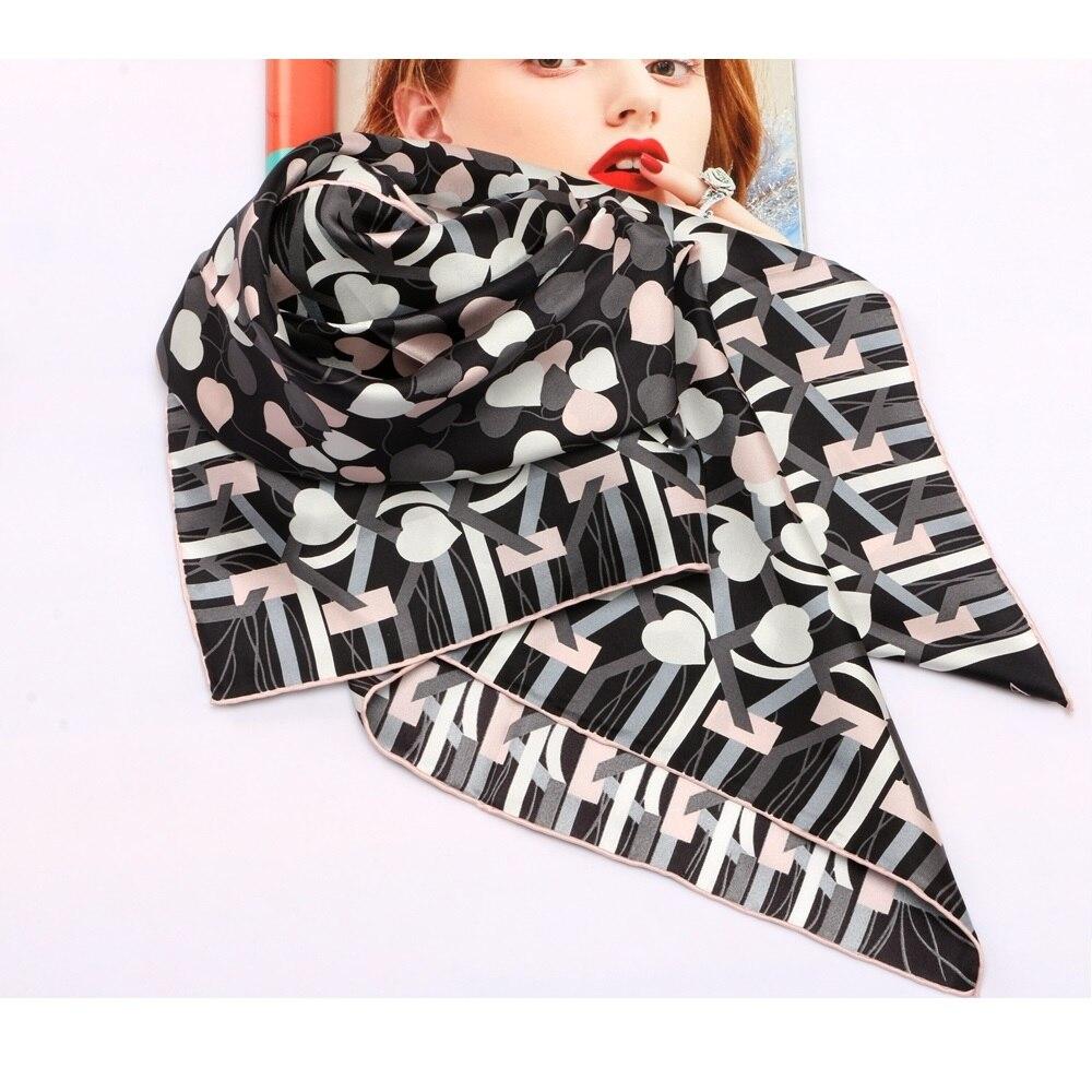 "New Arrival Fashion Prints 100% Twill Silk Scarf Hijab Women Large Square Silk Scarfs Shawl Foulard 35"" X 35"