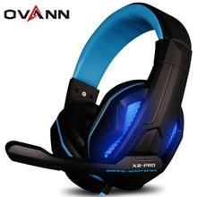 X2-PRO Gaming Profesional Auriculares Diadema Auricular 3.5mm + Conector USB Super Bass con Micrófono con Luz LED para la PC del Ordenador Gamr