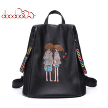 DOODOO Women 100% Genuine Leather Backpack High Quality Youth Backpacks girl large capacity Hand embroidery backpack Travel bag
