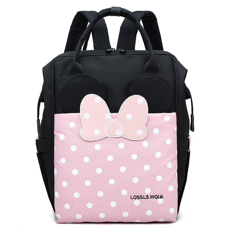 Canvas Backpack Nylong Cartoon Bow Mother Backpack Outdoor Travel High Capacity Baby Bags For Mother Mummy Baby Dedicated Bag