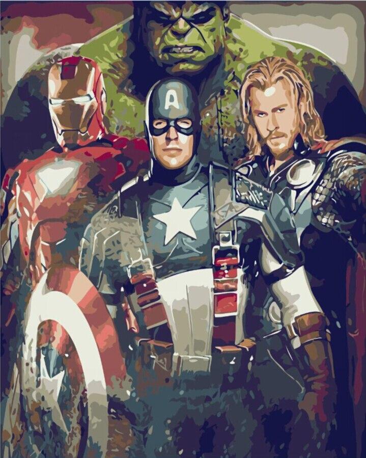 Frameless immagine sul muro di vernice acrilica by numbers fai da te pittura by numbers unico regalo della pittura a olio 40X50 cm the Avengers