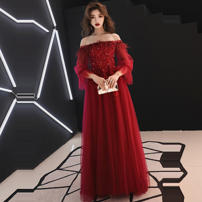 Evening Dress Long Sleeve Crystal Women Party Dresses Lace Backless Robe De Soiree 2019 Plus Size Boat Neck Formal Gowns E689