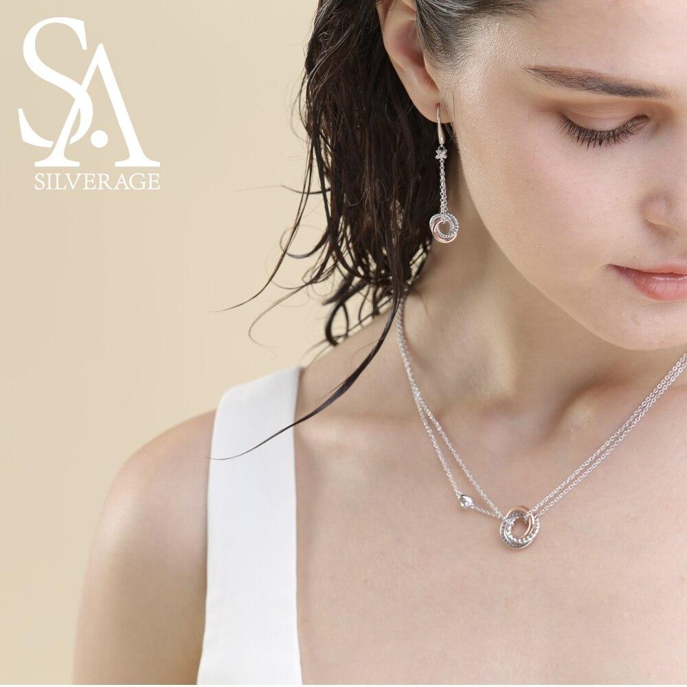 SA SILVERAGE 925 Necklaces të gjata me argjend të gjata, varëse - Bizhuteri të bukura - Foto 2