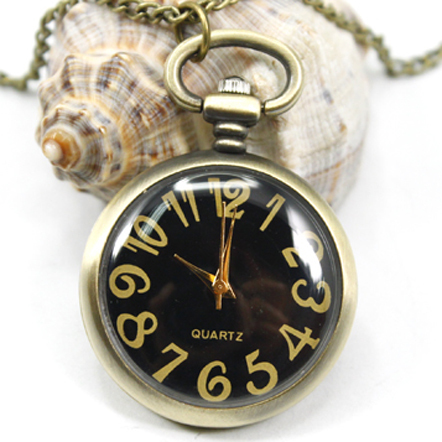 Wholesale Buyer Pocket Watch Necklace Good Quality New Fashion Vintage Fob Watches Retro Bronze Round Black Face With Chain