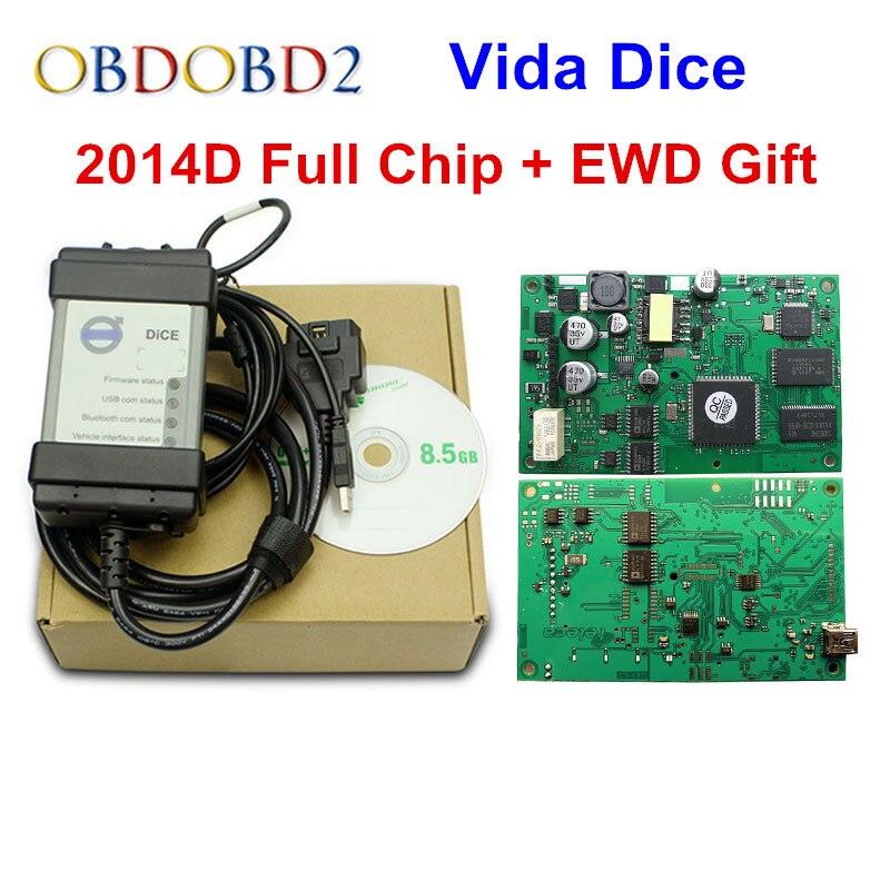 Лидер продаж для Volvo Vida 2014D полные языки профессиональный инструмент диагностики автомобиля Dice Pro полный чип зеленая доска Бесплатная доста...