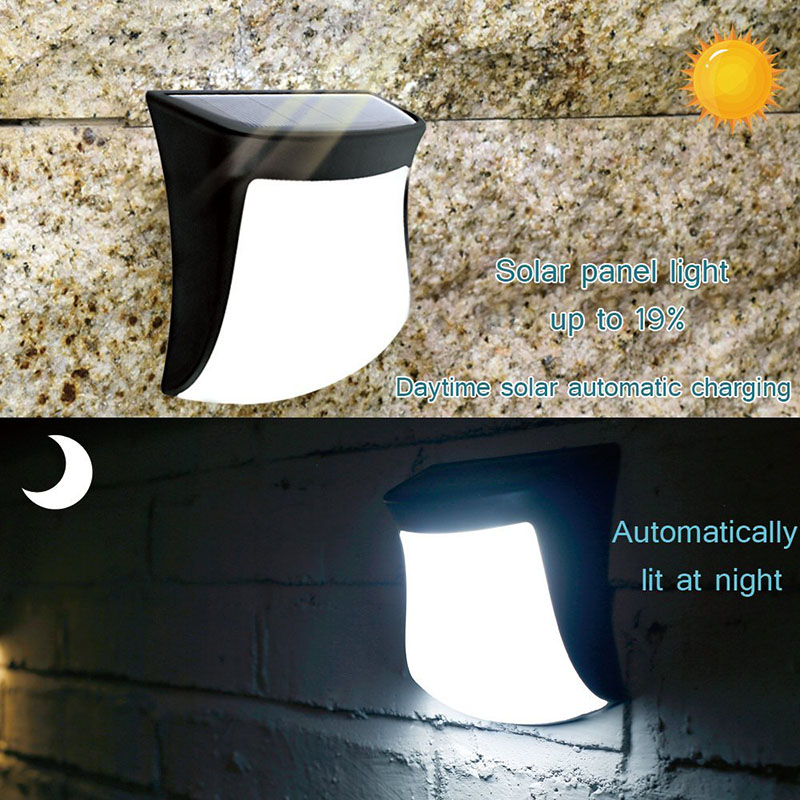 POTENCO 3 LEDs Solar Powered Light Street Lighting luz Solar Panels Waterproof Wall Lamp Sensor LED Lights For Garden Decoration in Solar Lamps from Lights Lighting