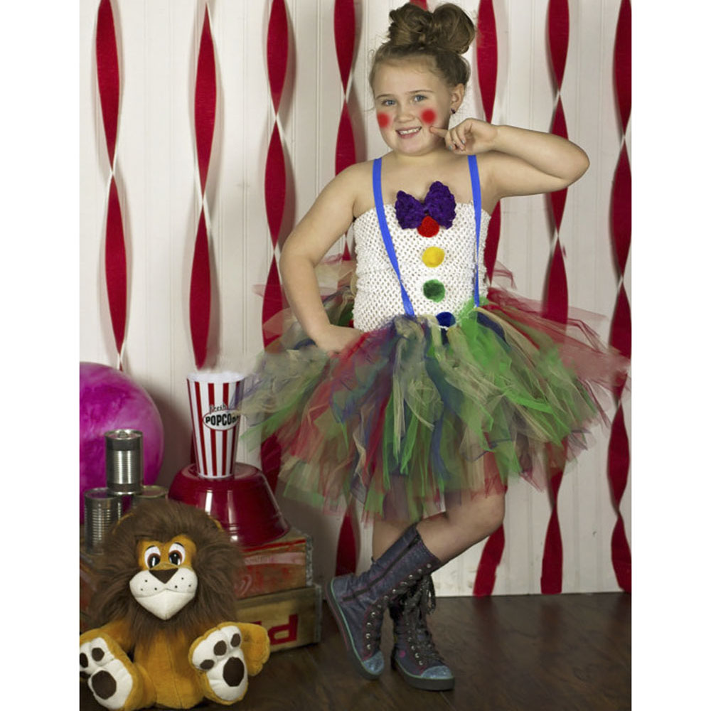 Girl Vintage Circus Clown Cosplay Tutu Dress Children Knee Length Birthday Carnival Costume Kids Halloween Party Clothing Outfit european style halloween show skeleton dress kids girls carnival fancy costume baby tutu party children cosplay vestido cloth
