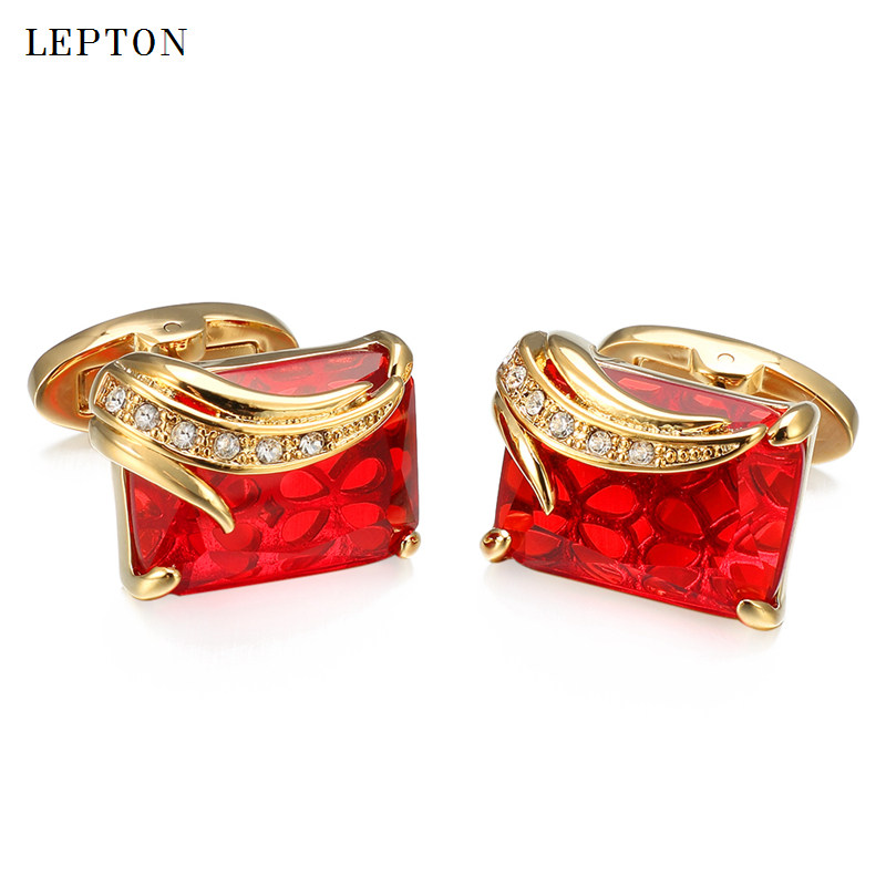 High Quality Glass Cufflinks For Mens Lepton Brand Square Crystal Cuff Links Luxury Wedding Groom CuffLink Relojes Gemelos