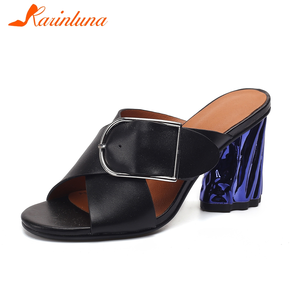 KARINLUNA Brand New Fashion Big Size 33-42 Ladies High Heels womens Genuine Leather Shoes Woman Casual Summer Slippers 2019KARINLUNA Brand New Fashion Big Size 33-42 Ladies High Heels womens Genuine Leather Shoes Woman Casual Summer Slippers 2019