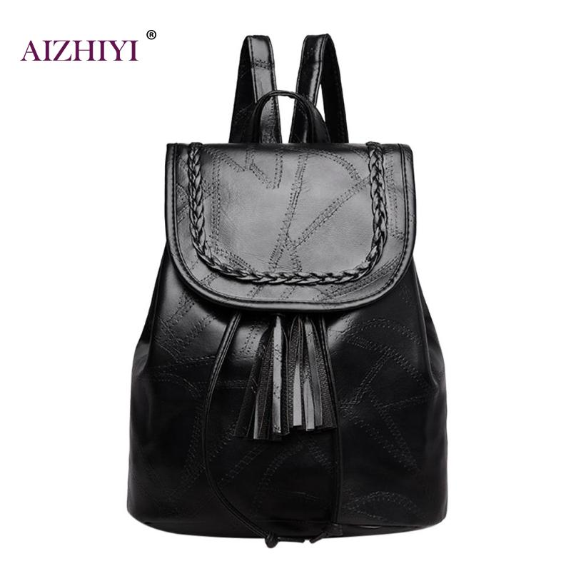 Women Casual Tassels Black Backpack Pu Leather Teenage Girl Schoolbag Travel Rucksack Shoulder Classic Pu Solid Casual Backpack