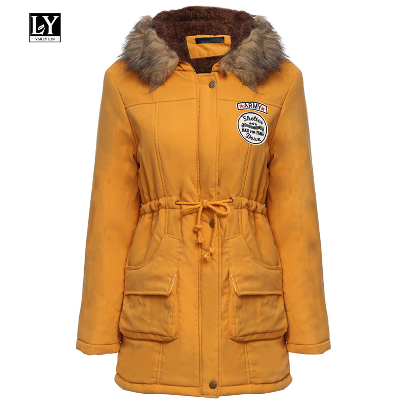 Ly Varey Lin Winter Women Cotton Coats Hooded Jacket Fur Collar Medium Long   Parka   Plus Size 3xl Military Thicken Snow Outwear