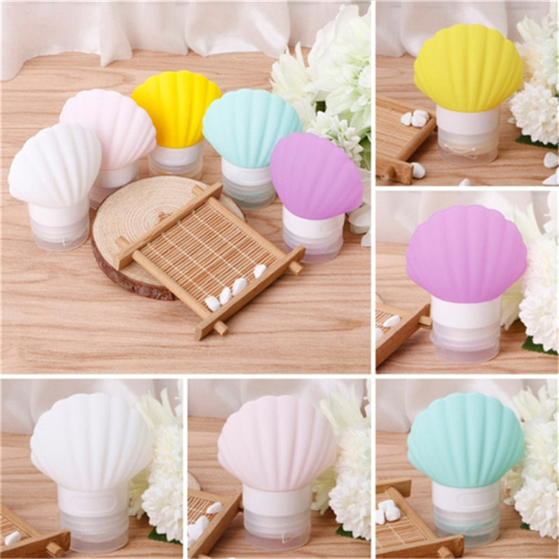 1PC Fashion Seashell Shape Empty Container Bottles Silicone Squeeze Travel Bottle Portable Travel Make Up Tools