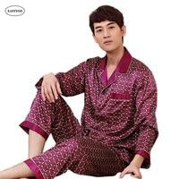 Plaid Pyjamas Men Silk Pajama Sets Long Sleeve Pijamas Sexy Male Pajamas Spring Summer Sleepwear Satin