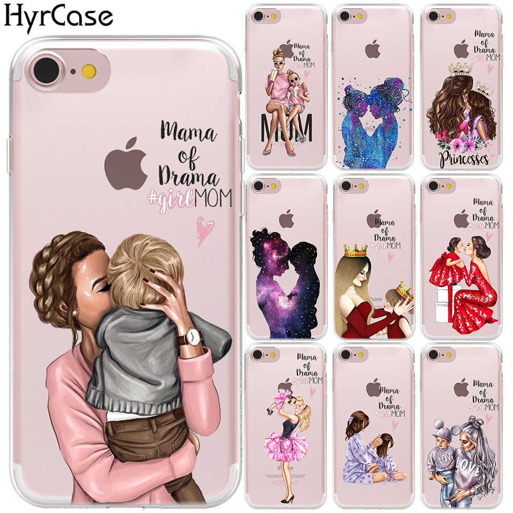 Fashion Black Brown Hair Baby Mom Girl Case For iPhone X XS Max XR 6 6S 8 7 Plus 5 5S SE Queen King Prince Silicone Phone Cover