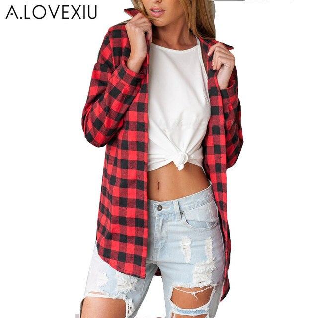 11ea9a221 Blusas camisa de franela manga larga mujeres negro y rojo Ladies Tops  Chemise camisa de blusas