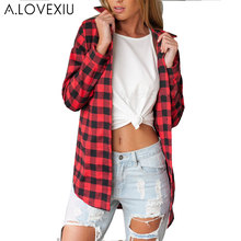 blouses women plaid shirt Flannel Shirt Women Black And Red Ladie Top Chemise Plaid Shirt Women Tops Casual Blouse Shirt(China)