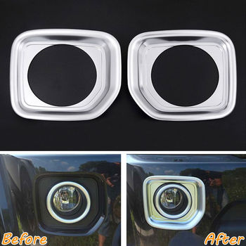 2x Car Outside ABS Chromium Styling Front Fog Light Lamp Cover Frame Trim Decal For 2014-2016 Land Rover Discovery 4 Car Styling