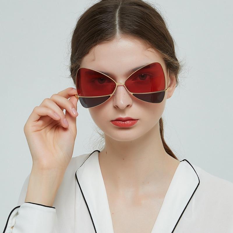 6b9d4ea46 Dois-tom Delicado Personalizado óculos de Sol Da Borboleta Elegante  Fronteira Metal AC Lens Óculos de Sol Para As Mulheres Homens 2019 UV400  okulary