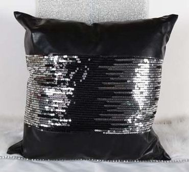 Leather Decorative Cushion Covers Sofa Silver Throw Pillows Couch