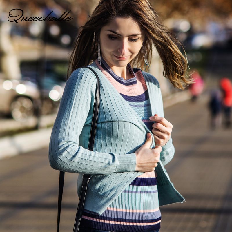 S - 4XL Plus Size Knitted Cardigan Women Autumn Solid Stripe V Neck Long Sleeve Single Breasted Thin Sweater Coat Female Tops