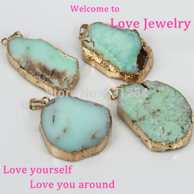 1pc Natural Stone Pendant Light Green Female Slice Crystal Charm Gold Color Quartz Druzy Gem For Necklace Women Jewelry
