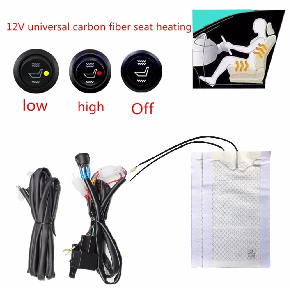 2 seats installed car seat heater universal round switch carbon fiber heated pads seat warmer 12