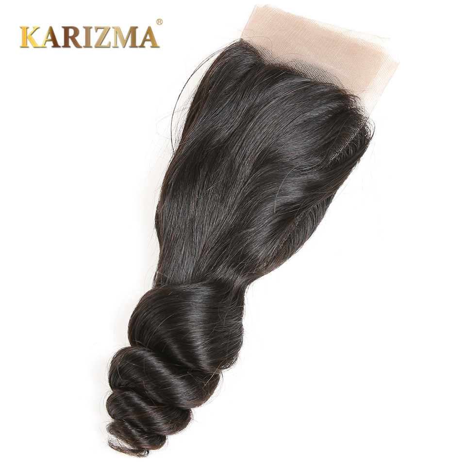 Karizma Loose Wave Lace Closure 4*4 100% Human Hair Natural Color 10-18inches Middle Part 1 Piece Only