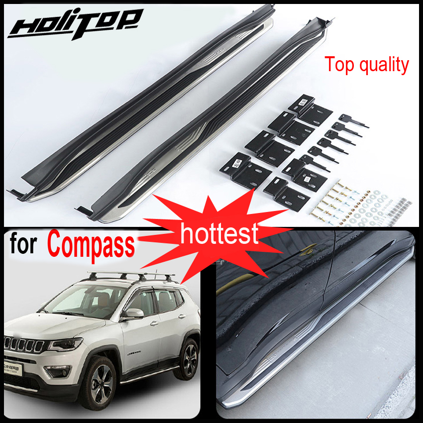 side bar side step nerf bar running board for jeep Compass 2016 2018 aluminum alloy ABS