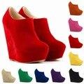 Las mujeres zapatos de Tacón Alto 14 cm Botines Tamaño 35-42 Estilo Simple Moda Cuña de La Plataforma Zapatos Otoño Invierno