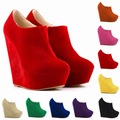Women High Heels 14cm Ankle Boots Size 35-42 Simple Fashion Platform Wedge Shoes Autumn Winter Style