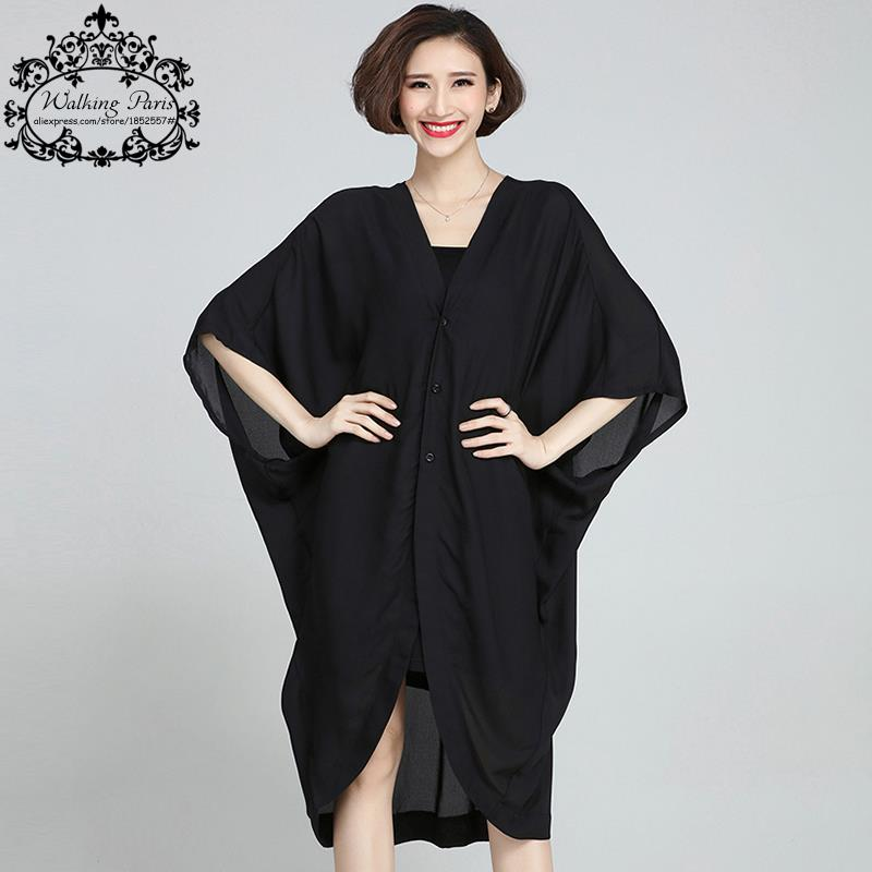 2017 New Women Blouse Chiffon Big Size Solid Summer Long Coat Fashion Casual Female V-Neck Black Cardigan Plus Size 5XL Clothes