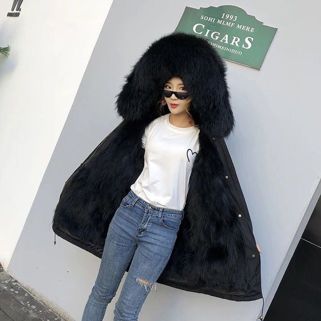 women real racoon dog fur coat