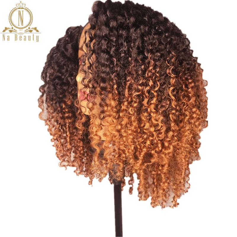 Afro Kinky Curly Human Hair Wig Ombre Colored 13x6 Lace Front Human Hair Wigs Short Bob Wig For Black Women Nabeauty 150 Remy
