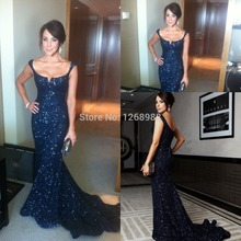 Free shipping 2015 Long Prom Dresses Mermaid Formal Gown Sequined Evening Dress Chapel Train Custom Made ZH1207