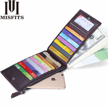 MISFITS Men Genuine Leather Thin ID Credit Card Holder Business Male Vintage Long Purse Zipper Pocket Card Case Clutch Wallets цены