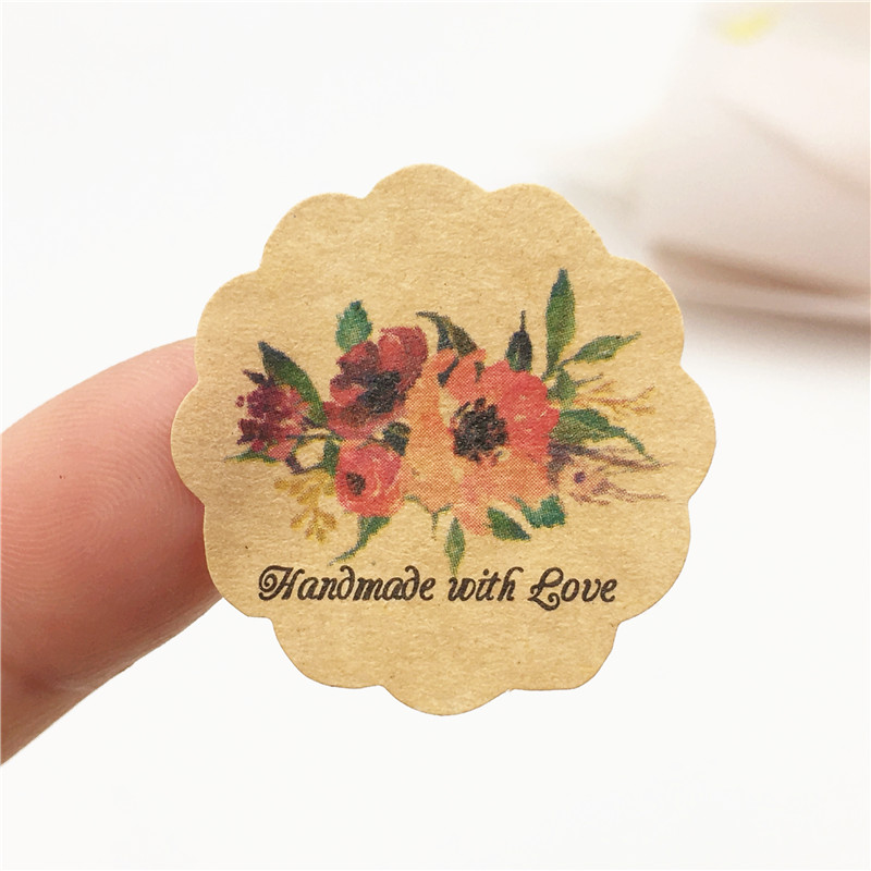 60pcs, Handmade With Love Flower Self-adhesive Gift Packaging Paper Labels Stickers Diameter 3cm For Envelope/gift Box/bottle