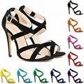 Bombas de las mujeres Zapatos de color caramelo punta abierta Sandalias finas Sandalias de Tacones Altos Recortes Zapatos de Verano tacones de Punta Abierta sexy party Girl Plus size42