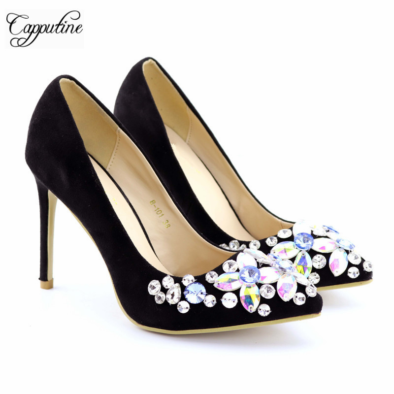 Capputine 2017 New Rhinestone High Heels Cinderella Shoes Fashion Women Pumps Pointed Toe Woman Crystal Wedding Shoes Size 37-42 bowknot pointed toe women pumps flock leather woman thin high heels wedding shoes 2017 new fashion shoes plus size 41 42