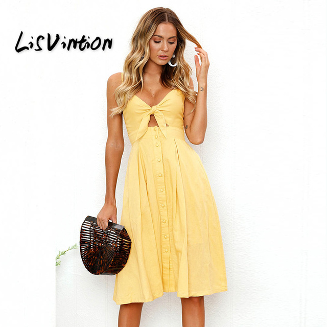 cd7a312da9781 US $4.54 35% OFF|LisVintion Bohemian Beach Dress Women Sexy Casual  Spaghetti Strap V Neck Sleeveless Solid Long Sundress Bow Vintage Party  Dress-in ...