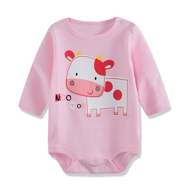 0-12M Long-Sleeved Baby Infant Cartoon Bodysuits For Boys Girls Jumpsuits Clothing 2016 New Free Shipping Autumn Newborn Clothes